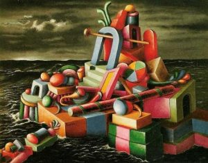 Quadro - L'isola dei giocattoli - di Alberto Savinio
