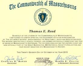 Attestato del Massachussets di riconoscimento degli eventi subiti da Thomas Reed